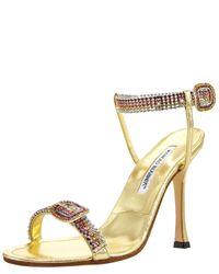 Manolo Blahnik | Metallic Rainbow-Crystal Sandal | Lyst