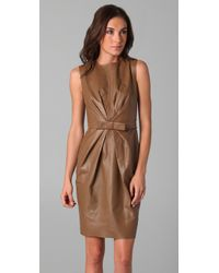 Robert Rodriguez   Brown Leather Belted Dress   Lyst