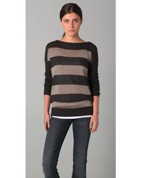 Vince | Brown Rugby Stripe Lurex Sweater | Lyst