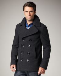 Burberry Brit | Gray Short Wool-blend Pea Coat for Men | Lyst