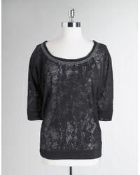 Calvin Klein - Black Studded Burnout Dolman Sleeve Top - Lyst