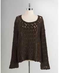 Free People - Brown Open Stitch Sweater - Lyst