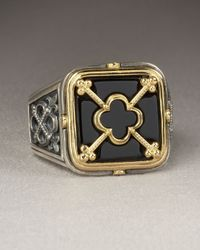 Konstantino - Black Clover Shield Ring for Men - Lyst