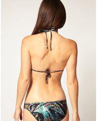 Insight - Black Feather Print Triangle Cut Out Bikini Set - Lyst