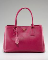 Prada | Pink Saffiano Lux Top Handle Open Tote | Lyst