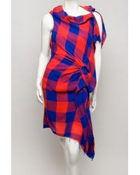 Thakoon - Red Plaid Asymmetrical Dress - Lyst