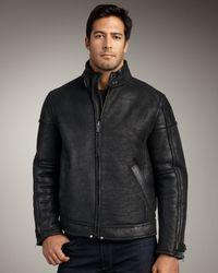 UGG - Refugio Shearling Bomber Jacket, Black for Men - Lyst