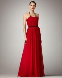 Vera Wang Lavender | Red Halter Chiffon Gown | Lyst