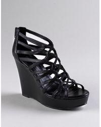 BCBGeneration - Black Jara Strappy Wedge Platform Sandals - Lyst