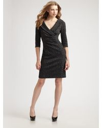 Kay Unger - Gray Shawl Collar Dress - Lyst