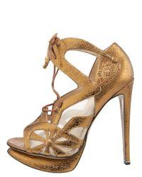 Nicholas Kirkwood | Gold Lace Slingback Peep-Toe Bootie | Lyst