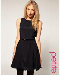 ASOS Collection | Black Asos Petite Skater Dress with Belt | Lyst