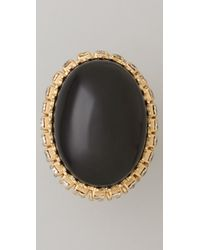 Juicy Couture - Black Large Stone Cocktail Ring - Lyst