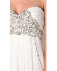 Marchesa | White Silk Crepe Gown with Embroidered Bodice | Lyst