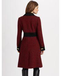 MILLY - Black Chevron Wool Luggage-lock Camille Coat - Lyst