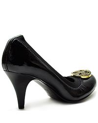 Tory Burch - Caroline - Black Patent Leather Mid Heel Pump - Lyst