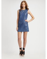 Vince - Blue Leather Shift Dress - Lyst