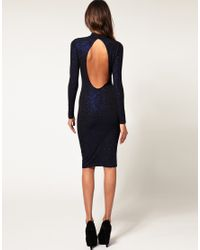 ASOS Collection | Blue Asos Bodycon Midi Dress with Glitter | Lyst