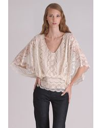 Beyond Vintage | Beige Dolman Sleeve Lace Blouse | Lyst