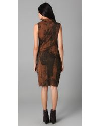 Edun - Orange Lace Print Wrap Draped Fringe Dress - Lyst
