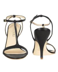 FORZIERI - Black Calf Leather T-strap Evening Sandal Shoes - Lyst