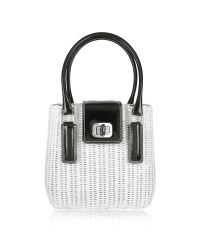 FORZIERI | Capaf Line Black & White Wicker Bucket Handbag | Lyst