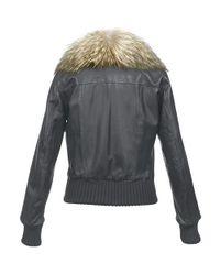 FORZIERI - Womens Fur Collar Black Italian Leather Jacket - Lyst