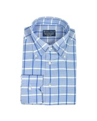 FORZIERI | Blue Roses - White & Blue Checked Button Down Cotton Dress Shirt for Men | Lyst