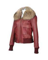 FORZIERI - Womens Fur Collar Red Italian Leather Jacket - Lyst
