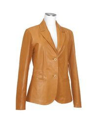 FORZIERI | Brown Womens Tan Italian Genuine Leather Blazer | Lyst