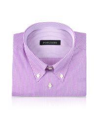 FORZIERI | White & Purple Mini Checks Button Down Cotton Dress Shirt for Men | Lyst
