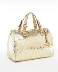 Michael Kors | Black Michael Grayson Large Jet Set Monogrammed Tote Pale Gold | Lyst