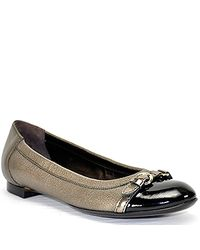 Attilio Giusti Leombruni | Pewter Metallic Leather Buckle Ballet Flat | Lyst