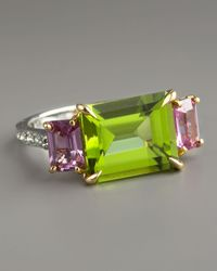 Paolo Costagli - Green Peridot & Pink Sapphire Ring - Lyst
