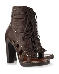 Proenza Schouler | Brown Cutout Lace-up Leather Ankle Boots | Lyst