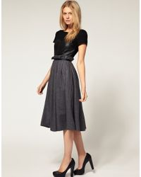 ASOS Collection - Black Asos Petite Exclusive Dress with Cap Sleeve and Wool Skirt - Lyst