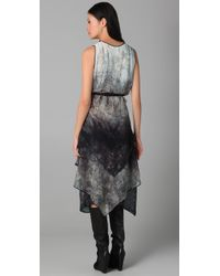 BCBGMAXAZRIA - Gray Janette Abstract Forest Print Dress - Lyst
