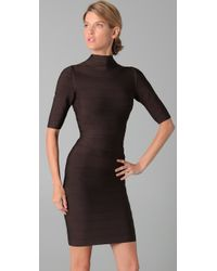 Hervé Léger - Brown Turtleneck 3/4 Sleeve Dress - Lyst