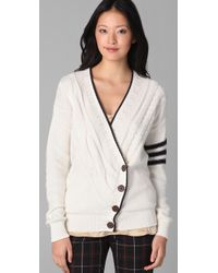 L.A.M.B. - White Cardigan Sweater with Asymmetrical Front - Lyst