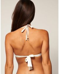River Island | Natural Broderie Bikini Top | Lyst