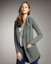 Theory - Gray Hooded Cashmere Cardigan - Lyst