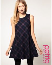 ASOS Collection - Blue Asos Petite Exclusive 60s Dress in Check - Lyst