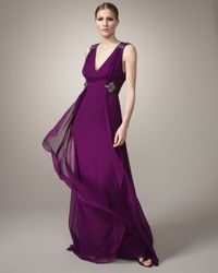 Badgley Mischka | Purple Embellished Gown | Lyst