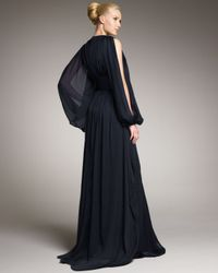 Badgley Mischka - Blue Batwing-sleeve Ruched Gown - Lyst