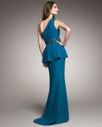Badgley Mischka - Blue One-shoulder Peplum Gown - Lyst