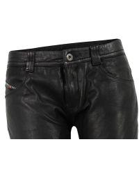 DIESEL | P-ukara Black Leather Trousers for Men | Lyst