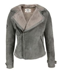 DIESEL | Gray Hedera Grey Shearling Jacket for Men | Lyst
