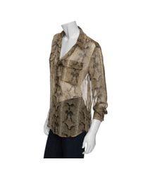 Equipment - Brown Python Print Chiffon Shirt - Lyst