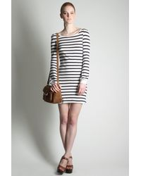 French Connection | Gray Scott Stripe Slash Neck Dress | Lyst