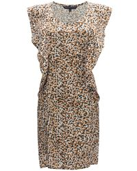 French Connection - Brown Cheetah Spots Flared Dress - Lyst